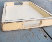 Serving Tray 12x8 Cream beige Shabby chic Home decor Accessory coffee table Office and Home Organization Party Table