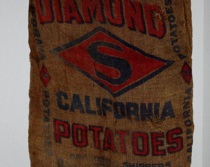 Vintage Burlap Bag, Diamond S California Potato bag