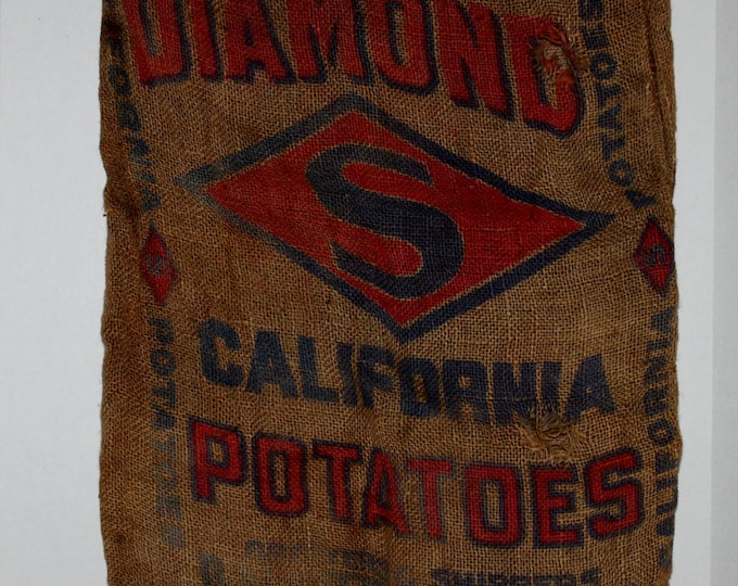 Vintage Burlap Bag, Diamond S California Potato bag
