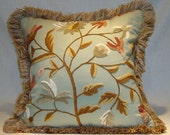 "Nola's Custom Order!  Pair of Kravet Couture Crewel-Work Pillows Floral Stitched Wool on Pale Teal Linen  18"" x 18"" w/Down Fill (In Stock!)"