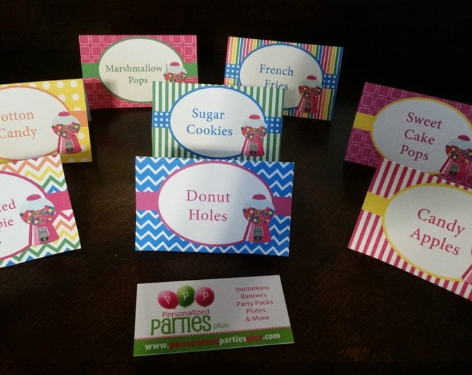Candyland style food tents with gumballs
