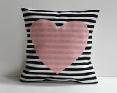 pink heart pillow cover // black and white stripe pillow // 12X12 cushion cover // heart shaped pillow // 12 inch pillow cover //heart decor