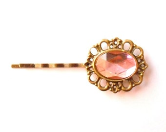 Pale Pink Cameo Rhinestone Hairpin, Vintage Style Jewelled Hair Clip, Jewel Bobby Pin, Bridesmaid Gift, Estate Style Grip, Hollywood Glamour