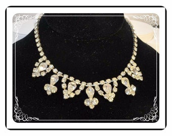 Weiss Rhinestone Choker - Signed Necklace - A Vintage Bride -  Neck-1125a-022312000