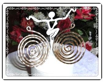 Smashing Pinwheel  Earrings - Spinning Large Vintage Pierced  E3314a-071714002