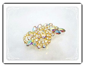 Aurora Borealis Brooch - Vintage Rhinestone Brooch with Bling - Wowzer  Pin-1875a-121812000