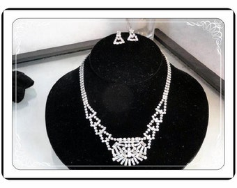 Sterling Set Made by Jayflex  - Rhinestone Necklace / Earrings - Drippy & Clear Rhinestones  Demi-1506a-051713000