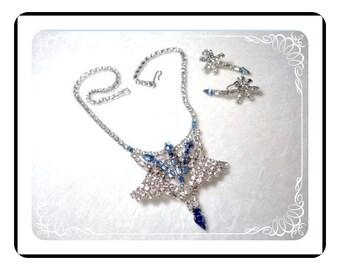 Rhinestone Necklace Earrings Demi -  Blue & Clear Puttin On The Glitz  Demi-1203a-040510000