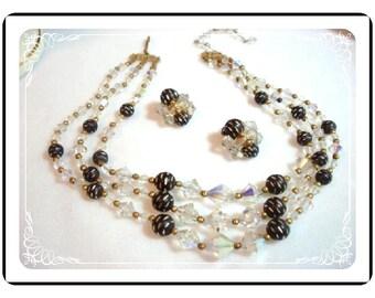 Crystal Necklace Demi - Vintage Black & Crystal Multistrand Set   Demi-1201a-012312000