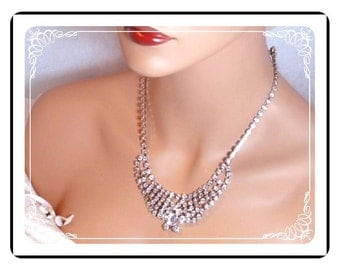 Crystal Ice Rhinestone Necklace - Beautiful Bling  Neck-1093a-012312000