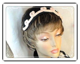 Black Head Band Hat  - w Pink Loopy Velvet Cording and Pearlescent Beads  - H-028e-040913015