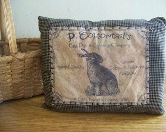 Primitive Black Homespun Vintage Logo Easter Bunny Pillow