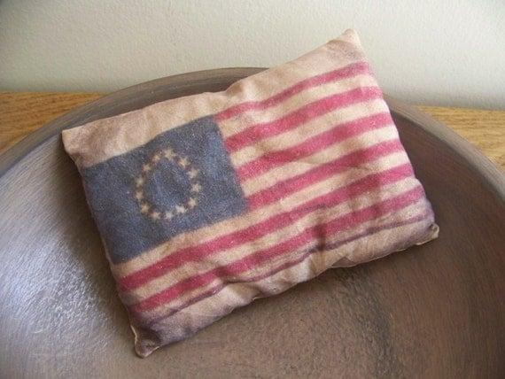 Primitive Flag Pillow Tuck American Patriotic Decor