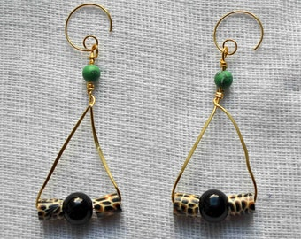 Leopard Resin and Glass Beaded Triangular Drop Earrings with Turquoise Detail