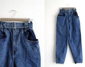 Vintage High Waisted Denim Jeans - Belted - 90s Denim Jeans - Tapered Leg - Dark Blue Wash - Pleated - Womens Jeans - Size 9 - Waist 23-26