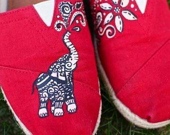 Elephant TOMS w/ Flowers & Paisley Designs