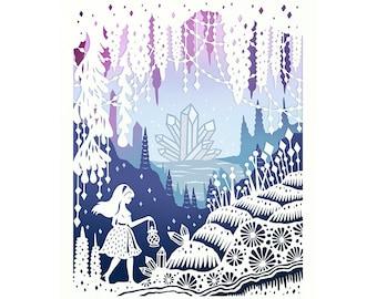 8x10 Print - Crystal Cave - Hand-Embellished Fine Art Print - Original Papercut Illustration