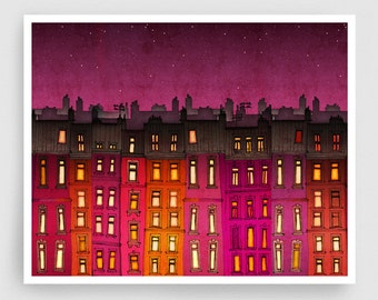 Paris red facade (landscape) - Paris illustration Fine Art Prints Posters Home decor Wall decor Gift ideas for her Living room decor Houses