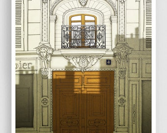 Fight for the light - Paris illustration Giclee Art prints Paris decor City prints Paris decor Architectural drawing Paris Facade Brown Door