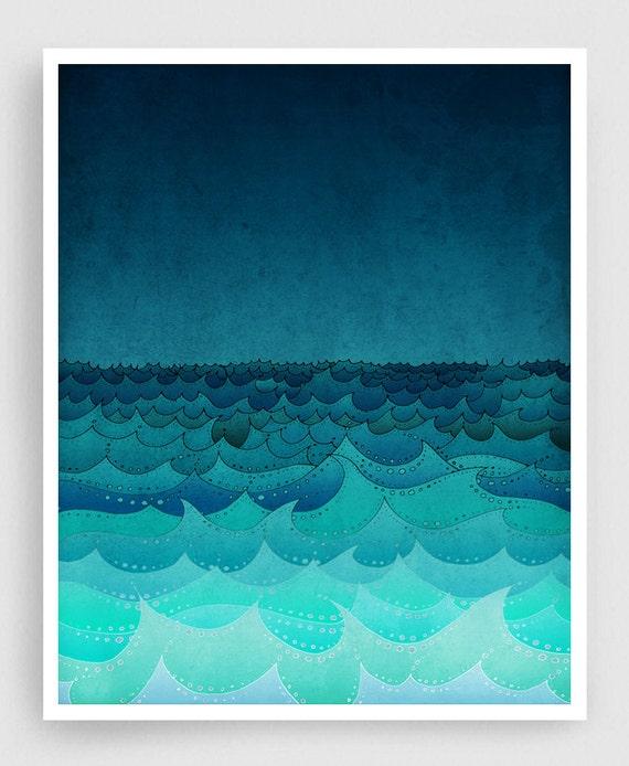 Storm in my soul  - Art illustration Giclee Art print Love decor Sea Ocean Turquoise Blue Home decor Nursery prints Kids room wall decor