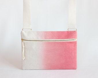 Coral Pink Ombre Unisex Crossbody bag / Hand-dyed Natural Denim Mini Messenger Bag / Satchel Bag / Handbag / Canvas Bags / coral pink bag