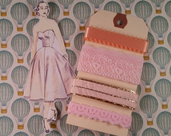 Beautiful Vintage Powder Pink Ribbon Trim Assortment | 4 Yards | Embellishments | Vintage Lace