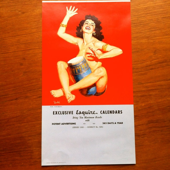 Pin Up Calendar Vintage : Vintage esquire magazine pin up calendar salesman sample