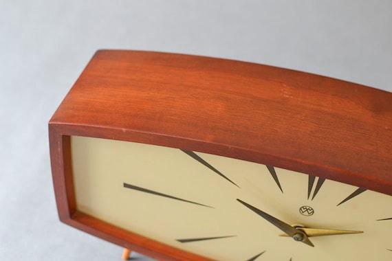 Vintage teak mantle desk clock table clock Weimar GDR East