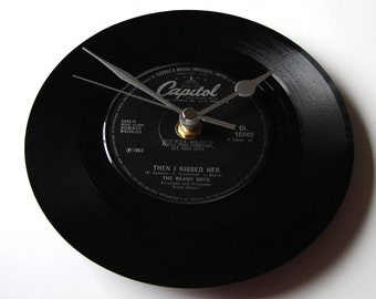 "The BEACH BOYS ""Then I Kissed Her""  Vinyl Record CLOCK made from a 7"" single Silver and Black retro Capitol Label"