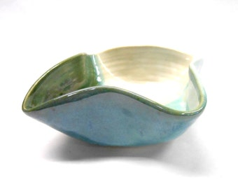Altered Pottery Bowl Ceramic Bowl Altered Serving Bowl Decorative Bowl  Altered Bowl Three Color Bowl Medium in Green Blue and White
