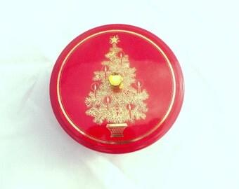 Vintage CHRISTMAS TREE Container - Otagiri Japan - Red Holiday Trinket Bowl