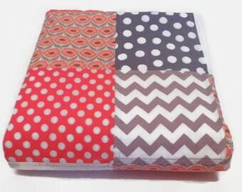 Baby Quilt-Modern-Girl-Chevron-Coral Gray Grey-Crib Blanket-Nursery Bedding-Cot Cradle-Patchwork-Handmade-Trendy-Floral
