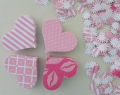 paper hearts stars pink baby girl babyshower birthday valentines confetti die cut  240+ pieces