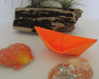 paper boat origami sail boat  orange sunny beach rainbow summer