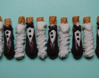 "Custom order for Jasmine 80 MINI BRIDE and GROOM Couple  honey wheat pretzel (2 1/2"") by PlainOldeJane"