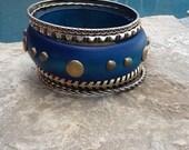 Wood n Metal Bangle Set! Blue Wood Bracelets! Set of 5 for Multi Layering! Great Gift!