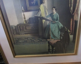 Antique Framed Picture Two Women in Long Dresses Doing Needlepoint