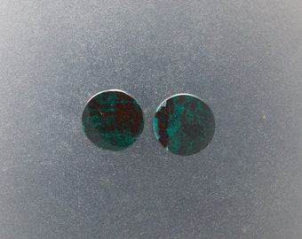 "Malachite Chrysocolla 7/16"",11mm Ear plugs one pair"