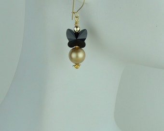 Swarovski crystal gold pearl and black crystal butterfly earrings. Earrings for wedding.