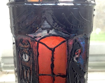 Edgar Allan Poe, Gothic, Masque of The Red Death painted glass Candleholder/Jar
