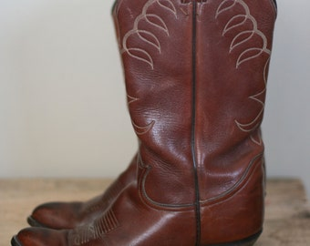 vintage tony lama brown leather western boots mens size 9D