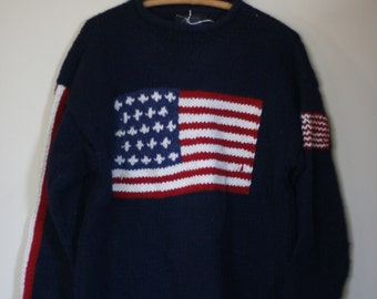 vintage navy blue wool hand knit sweater patriotic us flag size L