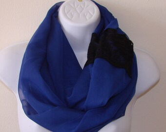 navy infinity scarf with lace, navy blue chiffon scarf, spring scarf, black lace summer scarf, circle loop scarf woman fashion scarf