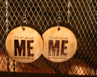All About Me Woodburned Earrings