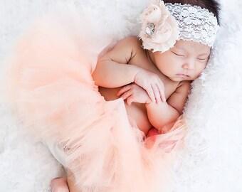 Newborn tutu set, peach tutu set, newborn tutu, newborn photo prop, photography prop, baby tutu set, baby tutu, tutu set, peach tutu, baby