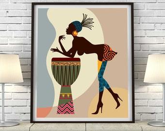 African American Art, African wall Art, African Woman, African Art painting, Black Woman Painting, Black Woman, African Decor