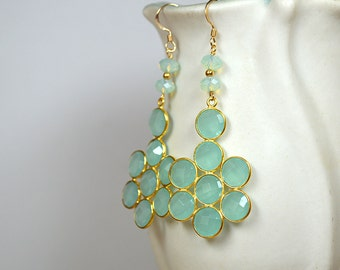 Aqua chalcedony earrings Bezel gemstone earrings Big earrings Gemstone drop earrings Statement chandelier earrings Gold bezel earrings