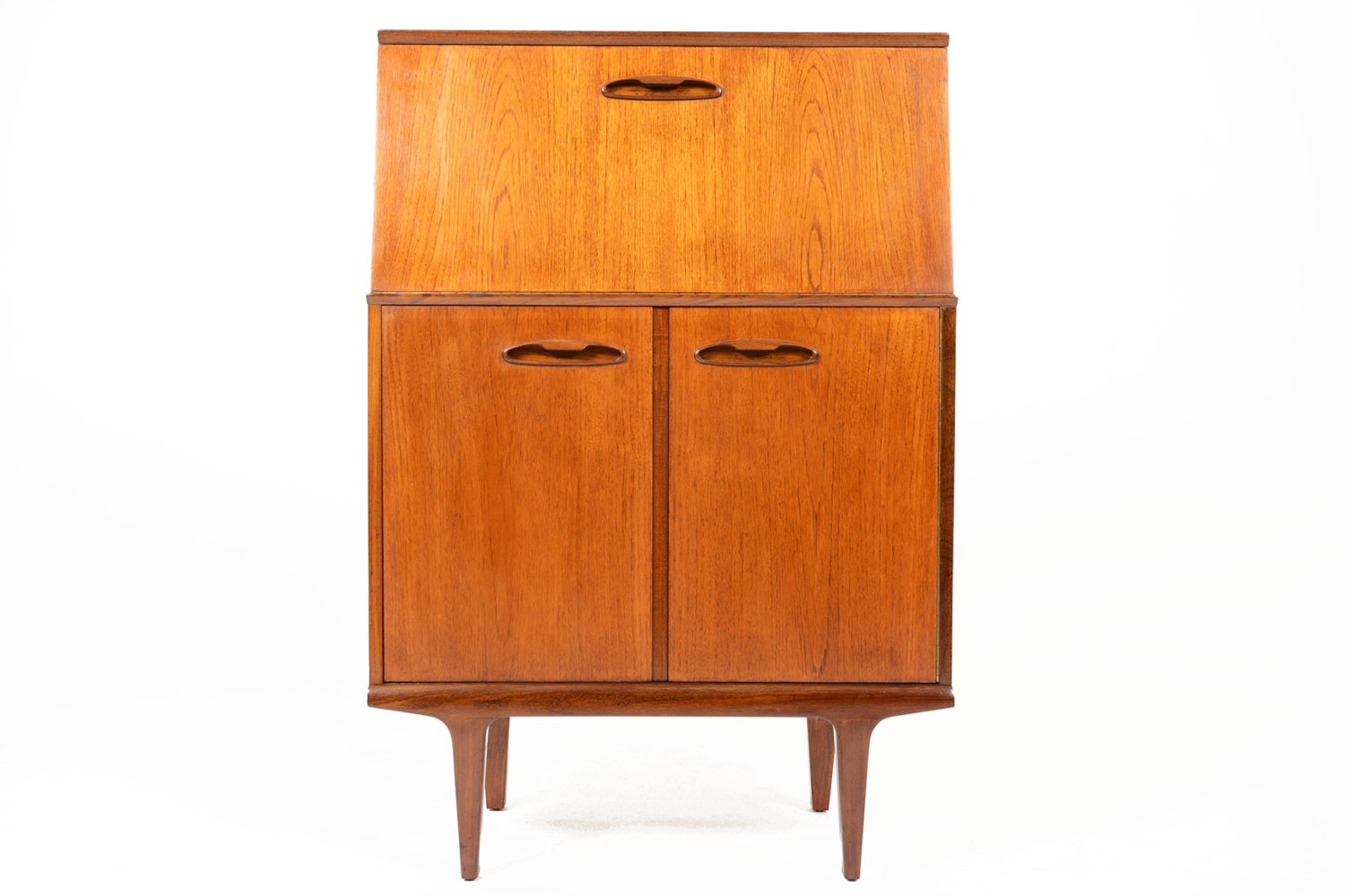 Danish Mid Century Modern Small Secretary Desk In Teak