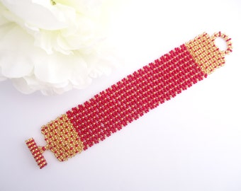 Baroque Netted Bracelet - Red and Gold - Czech seed Beads