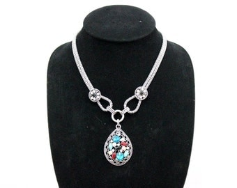 Double String Necklace With Oval Pendant Handmade Thailand (N5770-2D3)